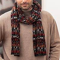 100% alpaca knit scarf, 'Andean Geometry' - Unisex 100% Alpaca Wool Earth Toned Scarf