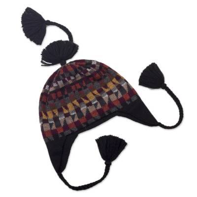 100% alpaca chullo hat, 'Andean Geometry' - Geometric Earthtoned Alpaca Wool Chullo Hat