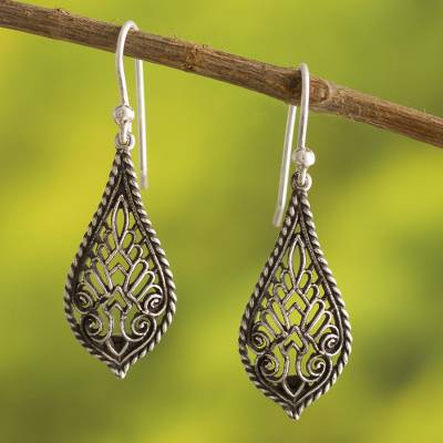 Silver dangle earrings, 'Cathedral Window' - Artisan Crafted Oxidized 950 Silver Earrings