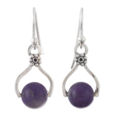 Handcrafted Fine Silver Earrings with Amethyst