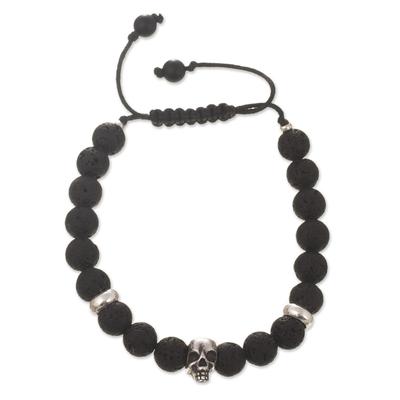 Lava Stone and Onyx Beaded Silver Skull Bracelet