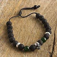Lava stone and onyx beaded bracelet, 'Skull in the Night' - Lava Stone and Green Onyx Beaded Silver Skull Bracelet