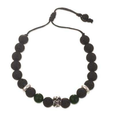 Lava Stone and Green Onyx Beaded Silver Skull Bracelet