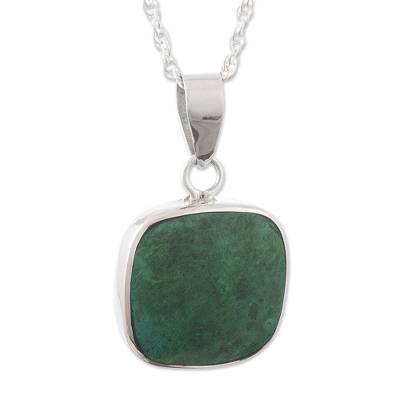 Chrysocolla pendant necklace, 'Window' - Chrysocolla and Sterling Silver Pendant Necklace