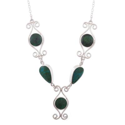 Chrysocolla pendant necklace, 'Andean Baroque' - Artisan Crafted Chrysocolla Necklace