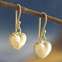 Gold plated dangle earrings, 'Love in Gold' - 18k Gold Plated Heart Dangle Earrings