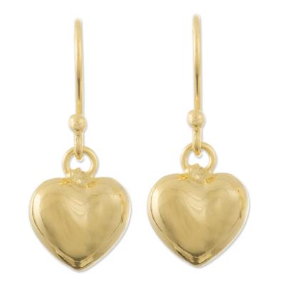 Gold plated dangle earrings, 'Love in Gold' - 18k Gold Plated Heart Dangle Earrings