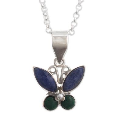 Sodalite and Chrysocolla Butterfly Necklace
