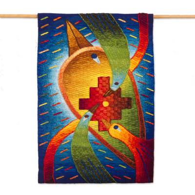 Colorful Alpaca Blend Tapestry from Peru