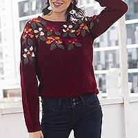 100% alpaca sweater, 'Burgundy Garden' - Burgundy Floral Intarsia Knit 100% Alpaca Sweater