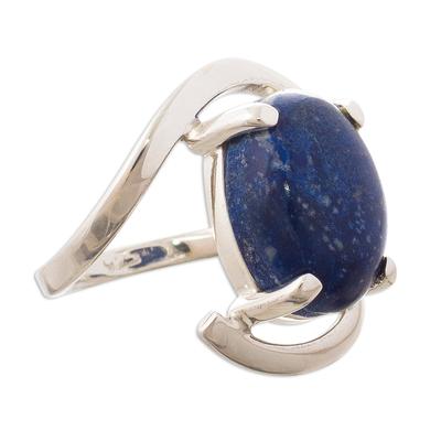 Lapis lazuli cocktail ring, 'Aurora Glow' - Oval Lapis Lazuli Cocktail Ring Crafted in Peru