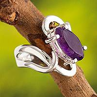 Amethyst cocktail ring, 'Streams of Light' - Artisan Made Amethyst and Andean Silver Cocktail Ring