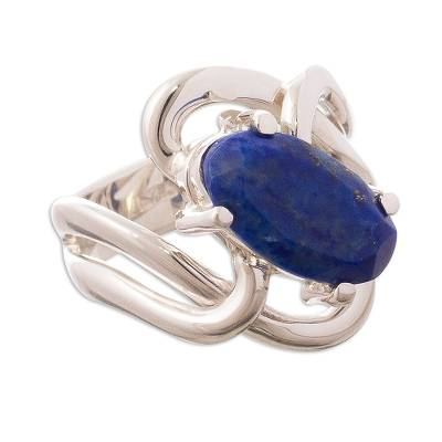 Lapis lazuli cocktail ring, 'Streams of Light' - Artisan Made Lapis Lazuli and Andean Silver Cocktail Ring
