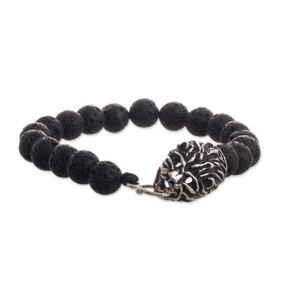 Lion Motif 950 Silver and Lava Stone Bracelet