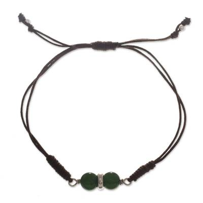 Agate pendant necklace, 'Vibrant' - Cord Bracelet with Green Agate and 950 Silver