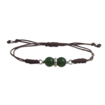 Cord Bracelet with Green Agate and 950 Silver