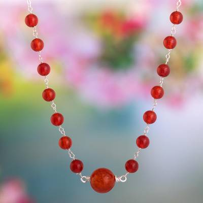 Agate and carnelian pendant necklace, 'Fire Within' - Necklace with Agate and Carnelian and 950 Silver