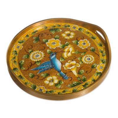 Reverse-Painted Glass Tray with Hummingbird