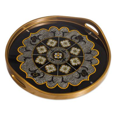Floral Reverse-Painted Glass Mandala Tray from Peru