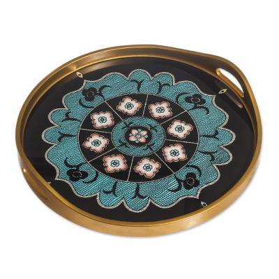 Floral Mandala Reverse-Painted Glass Tray