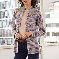 Baby alpaca cardigan 'Dream Colors' - Lilac & Peach Jacquard Knit Baby Alpaca Cardigan Sweater