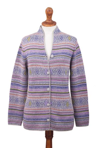 Baby alpaca cardigan 'Dream Colors' - Lilac & Peach Jacquard Knit Baby Alpaca Cardigan Sweater