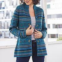 100% baby alpaca cardigan, 'Dream Turquoise' - Peru Turquoise Jacquard Knit Baby Alpaca Cardigan Sweater