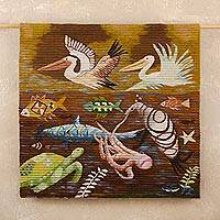 Wool tapestry, 'Paracas Marine Life' - Marine Life Themed Wool Tapestry