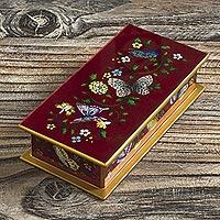 Reverse-painted glass decorative box, 'Butterflies on Burgundy' - Burgundy Reverse-Painted Glass Decorative Box