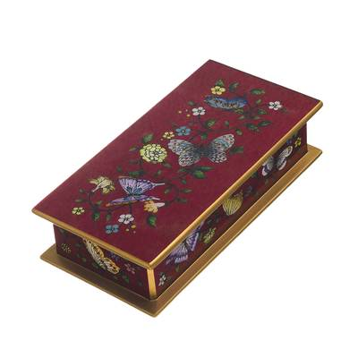 Burgundy Reverse-Painted Glass Decorative Box
