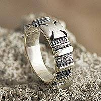 Sterling silver band ring, 'Footed Cross' - Cross Pattee band Ring in Sterling Silver