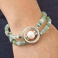 Cultured pearl and opal pendant bracelet, 'Altiplano Breeze' - Andean Opal and Cultured Pearl Bracelet
