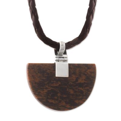Handmade Mahogany Obsidian Pendant Necklace