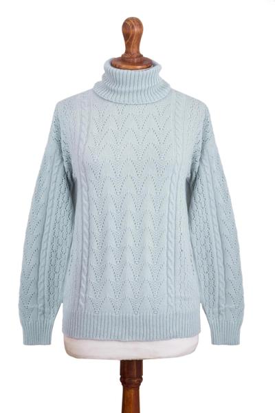 Baby alpaca blend turtleneck sweater, 'Prestige in Sky Blue' - Soft Knit Baby Alpaca Blend Turtleneck Sweater