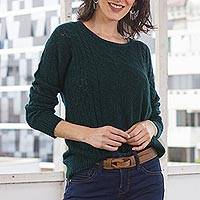 Baby alpaca blend turtleneck, 'Teal Charm' - Forest Spruce Teal Baby Alpaca Pullover Sweater