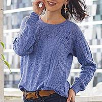 Baby alpaca blend pullover sweater, 'Distinction in Blue' - Heather Blue Baby Alpaca Blend Sweater