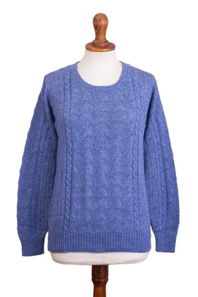 Baby alpaca blend pullover sweater, 'Distinction in Blue' - Heather Blue Baby Alpaca Blend Sweater