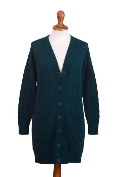 Baby alpaca blend cardigan sweater, 'Eminence in Teal' - Knit Baby Alpaca Blend Cardigan in Teal