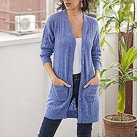Baby alpaca blend cardigan sweater, 'Eminence in Blue' - Blue Baby Alpaca Blend Cardigan Sweater