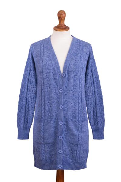 Baby alpaca blend cardigan sweater, 'Eminence in Blue' - Blue Baby Alpaca Blend Cardigan Sweater