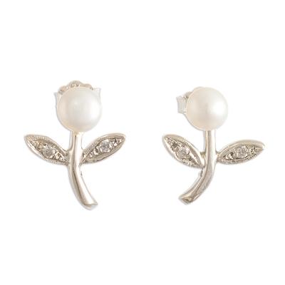 Cultured pearl drop earrings, 'Single Bud' - Floral Drop Earrings with Cultured pearls