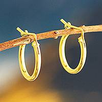 Gold plated hoop earrings, 'Always Classic' (.7 inch)