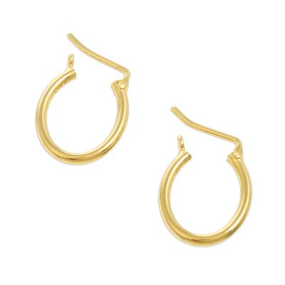 Gold plated hoop earrings, 'Always Classic' (.7 inch) - Small Gold Plated Hoop Earrings from Peru (.7 Inch)