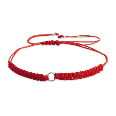 Macrame bracelet with sterling silver, 'Simple Unity' - Bright Red Macrame Bracelet with Sterling Silver