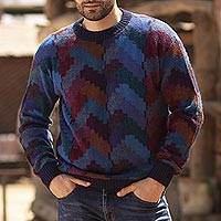 Men's 100% alpaca pullover, 'Stairway to the Heavens' - Multicolor Alpaca Men's Geometric Knit Pullover Sweater