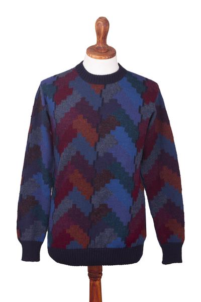 Men's 100% alpaca pullover, 'Stairway to the Heavens' - Multicolor Alpaca Men's Geometric Knit Pullover Sweater