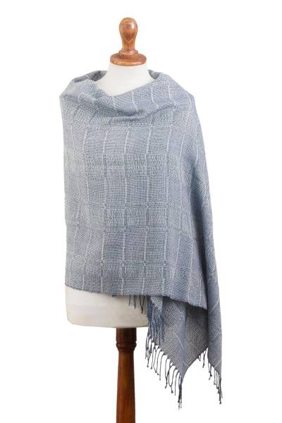 100% baby alpaca shawl, 'Whispering Blue' - Powder Blue Patterned Handwoven Baby Alpaca Shawl