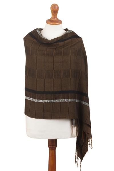 100% baby alpaca shawl, 'Chestnut Windowpanes' - Handwoven Patterned Chestnut Brown Baby Alpaca Shawl