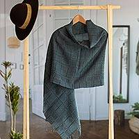 100% baby alpaca shawl, 'Whispering Navy' - Navy Blue Patterned Handwoven Baby Alpaca Shawl