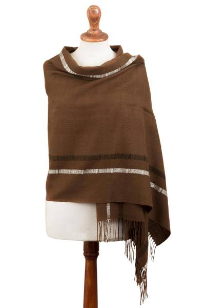 100% baby alpaca shawl, 'Sepia Roads' - Sepia Brown Handwoven Baby Alpaca Shawl with Black and White